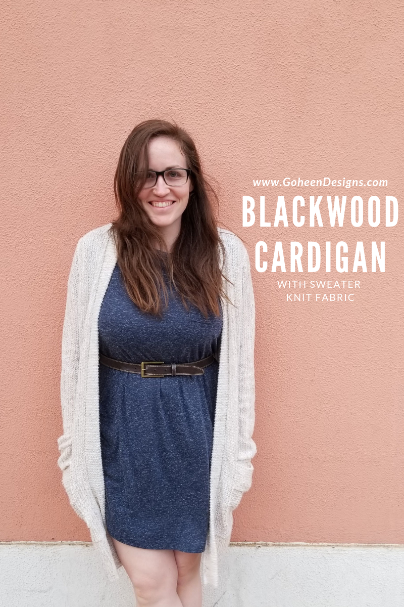 sewing a blackwood cardigan in a sweater knit fabric