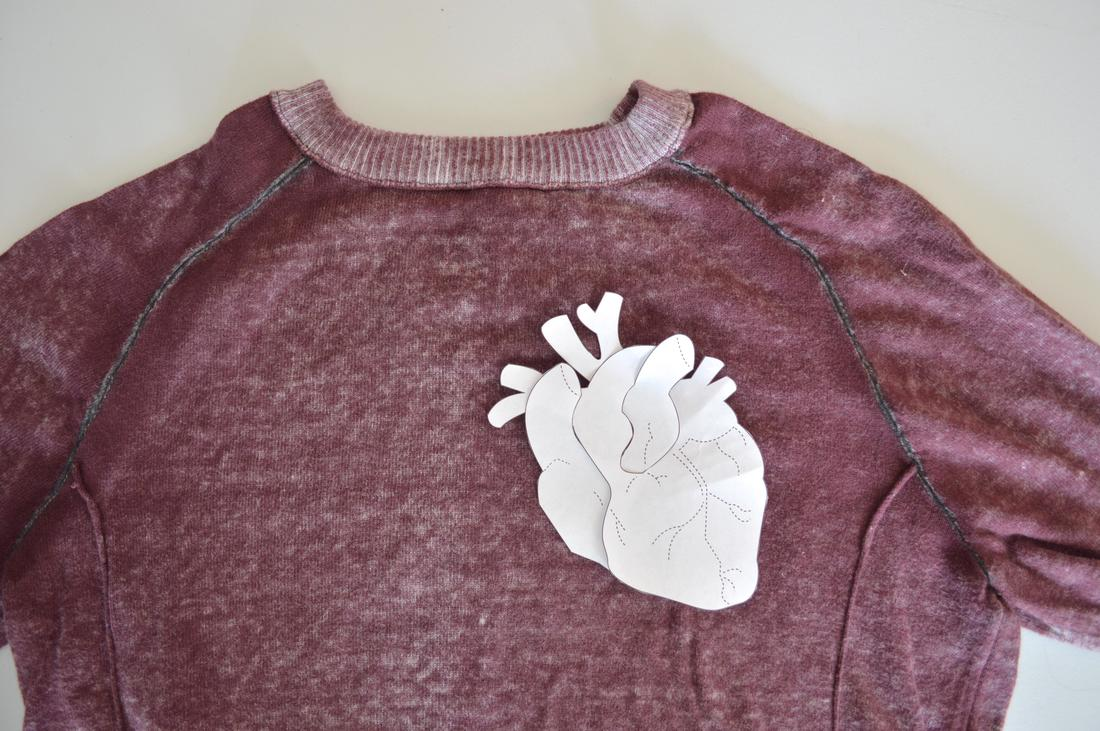 anatomical heart sewing pattern for halloween applique