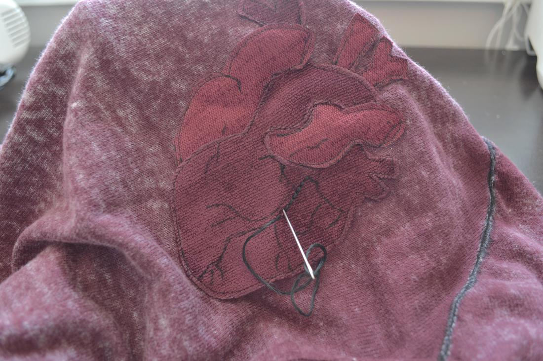 embroidery floss used to create your anatomical heart applique