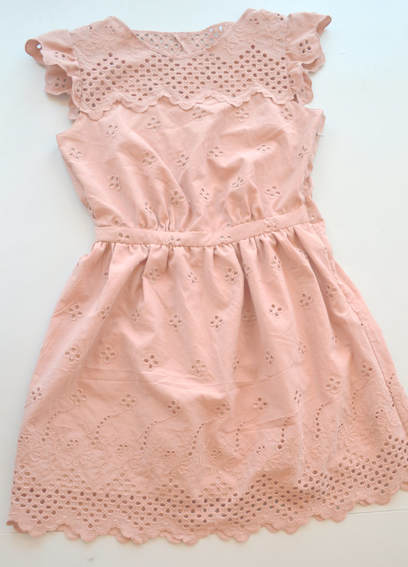 blush pink eyelet handmade dress