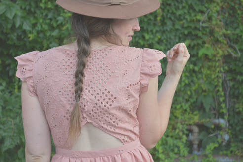open back blush dress