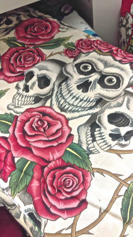 skulls and roses fabric