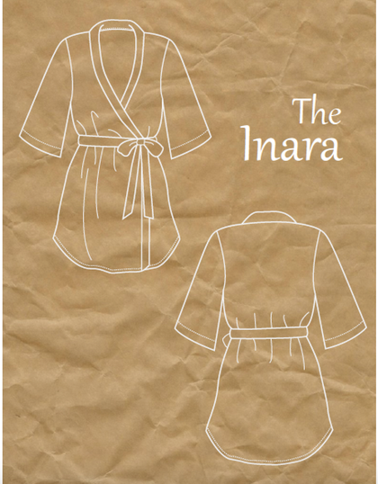 robe line drawing Inara robe indie sewing pattern goheen