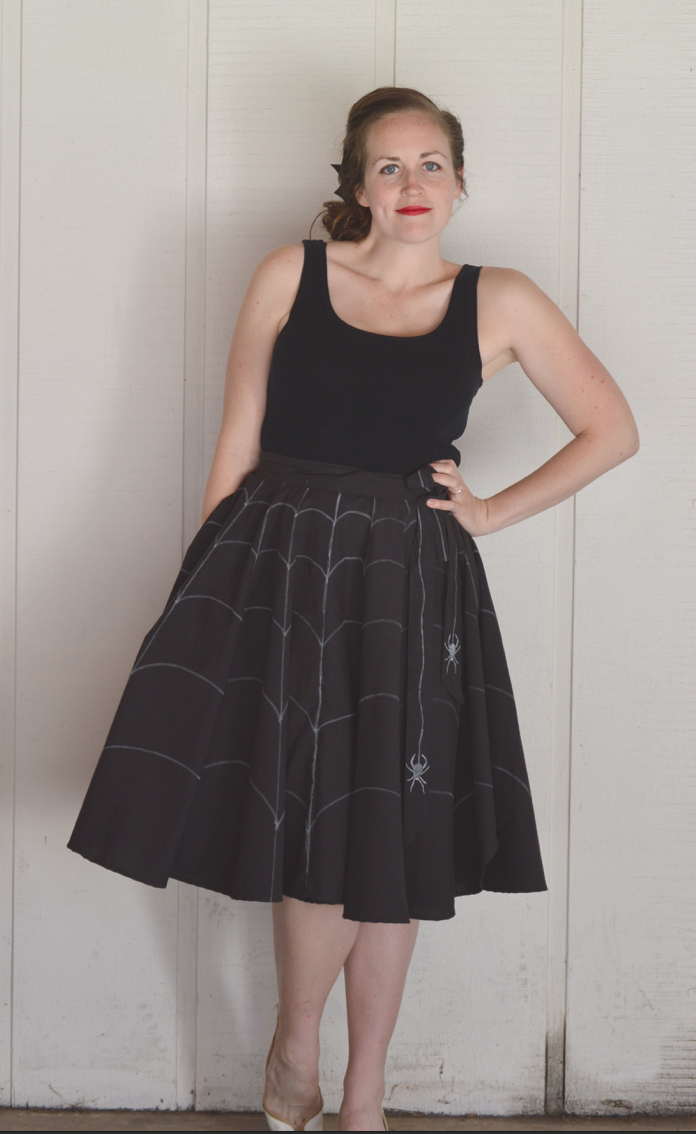 halloween spider web circle skirt