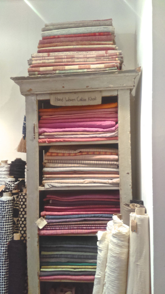 cottage chic fabric display