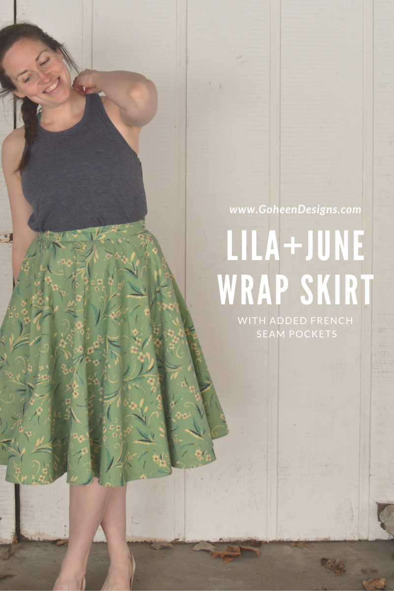 lila + june wrap skirt with added french seam pockets