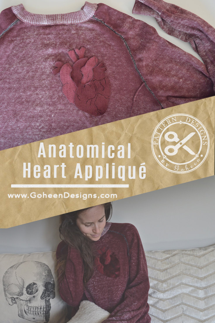 Pinterest ready image of the anatomical heart applique sewing pattern
