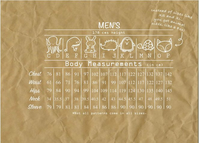 men's size chart in cm