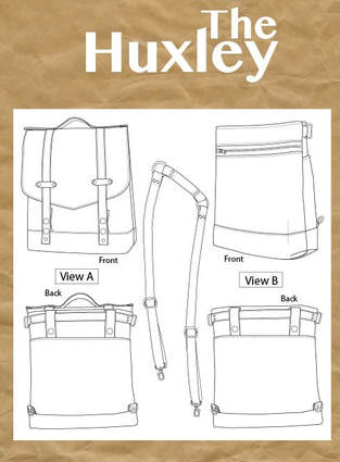 The Huxley bag sewing pattern back pack bike bag
