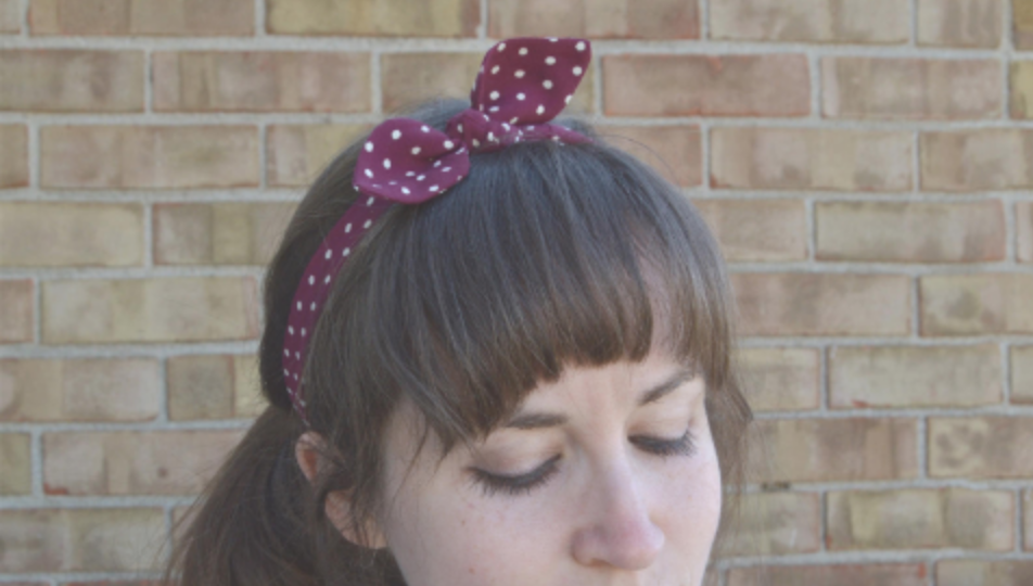 upcycled fabric headband top knot retro polka dot red and white