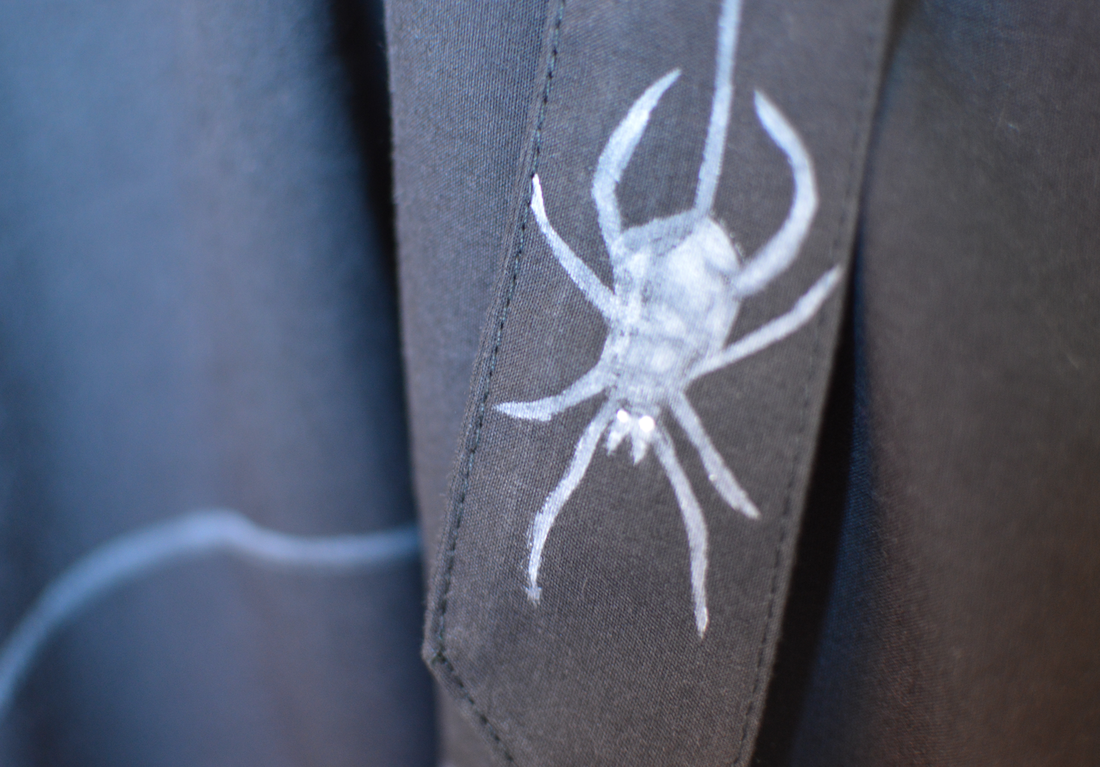 spider stenciled on a skirt for halloween