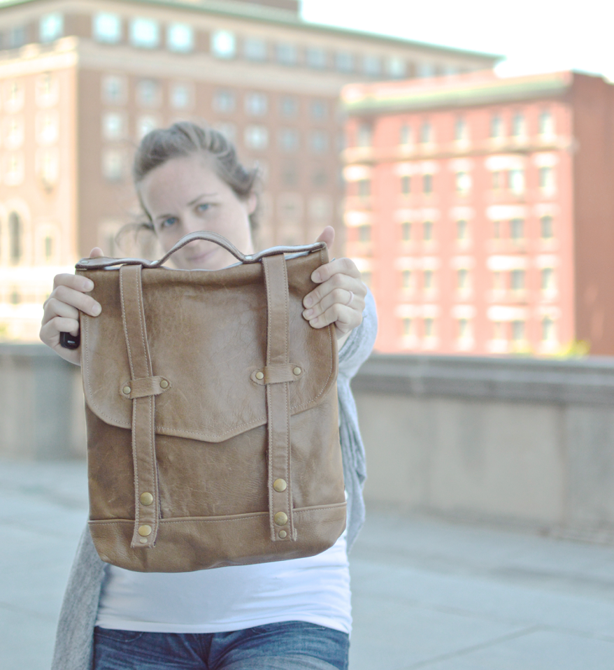 diy leather bag with rivets Huxley