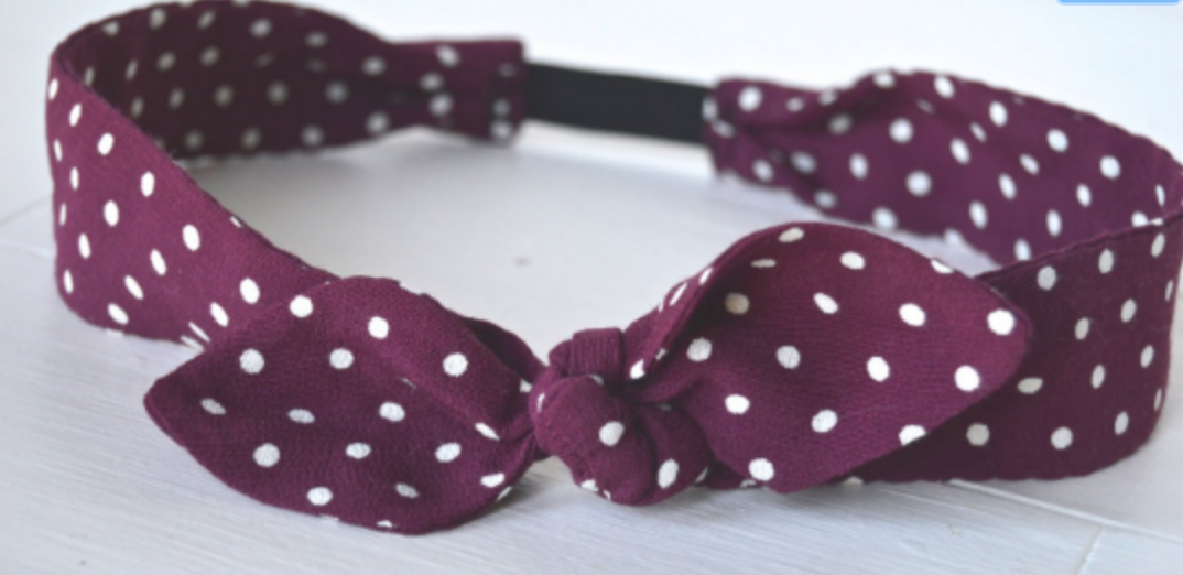 retro top knot polka dot headband