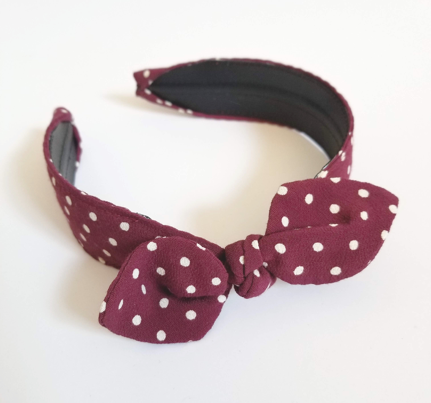 easy upcycled retro headband polka dot diy